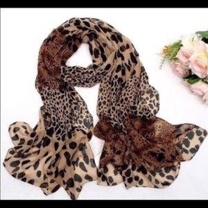 Animal print chiffon scarf